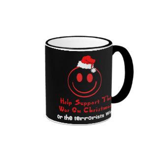 Guerra de la ayuda en navidad tazas de café