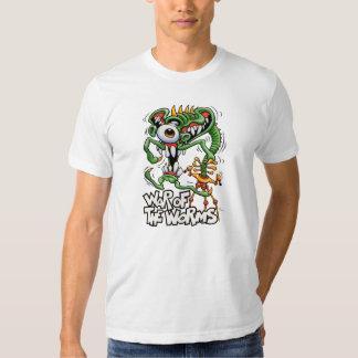 Guerra de la camiseta del blanco de los gusanos playeras