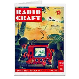 Guerra de radio militar del arte TV del kitsch ret Tarjeta De Felicitación