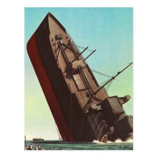 Guerra de 'Ship hundimiento de la pulpa del Tarjetas Postales