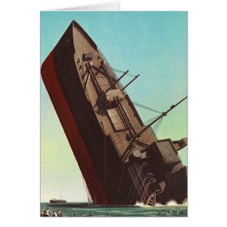 Guerra de 'Ship hundimiento de la pulpa del vintag Tarjeta De Felicitación