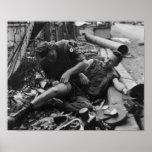 Guerra de Vietnam herida del soldado 1968 Posters