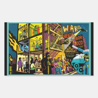 Guerra en el arte del dibujo animado de la vecinda rectangular altavoces