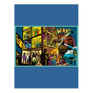 Guerra en el arte del dibujo animado de la vecinda postal
