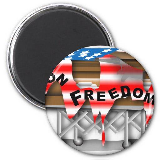 Guerra en el ataúd de la libertad iman de nevera
