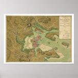 Guerra en el mapa de Boston - 1776 Impresiones