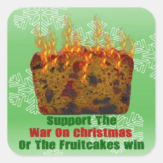 Guerra en Fruitcakes Pegatina Cuadrada