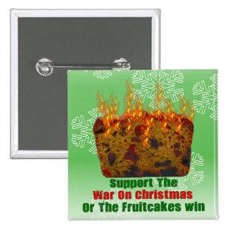 Guerra en Fruitcakes Pin Cuadrado