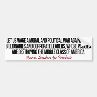 Guerra en la clase media - chorreadoras de Bernie Pegatina Para Auto
