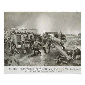 Guerra mundial 1, artillería francesa en la acción póster