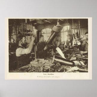 Guerra mundial 1, Francia, fábrica artificial del Póster
