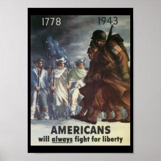 Guerra mundial de la lucha de los americanos 2 póster