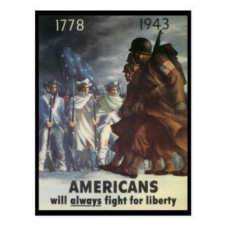 Guerra mundial de la lucha de los americanos 2 tarjeta postal