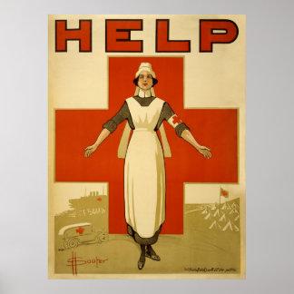 Guerra mundial del anuncio de la ayuda de la enfer posters