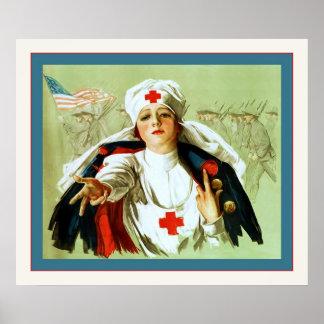 Guerra mundial del ~ del poster de la enfermera de