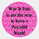 Guerra/odio contra paz etiqueta redonda