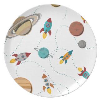 Guerras de la luna del aterrizaje del espacio de plato de comida