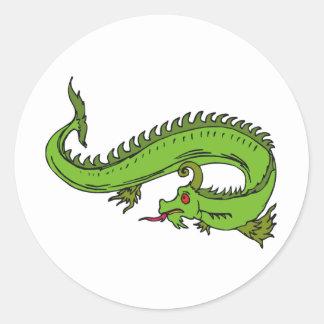 Guerrero 11 del dragón pegatina redonda