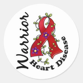Guerrero 15 de la enfermedad cardíaca pegatinas redondas