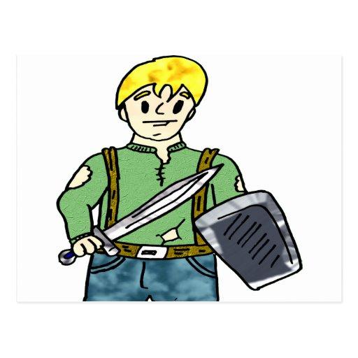 guerrero 2 del dibujo animado postales
