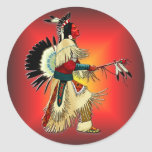 Guerrero #6 del nativo americano pegatinas redondas