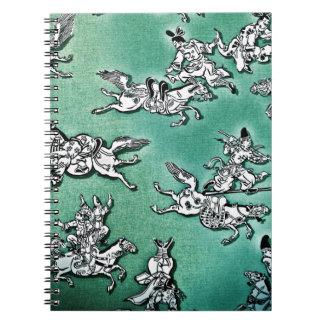 Guerrero asiático a caballo spiral notebook