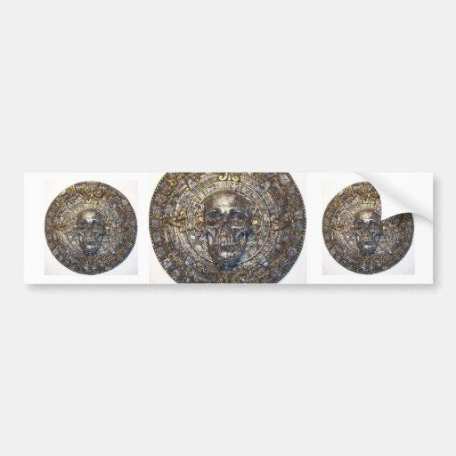 Guerrero azteca/maya del cráneo en calendario pegatina para auto