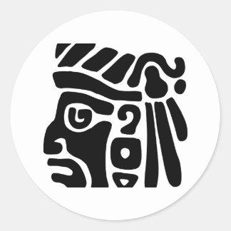 Guerrero azteca etiqueta redonda