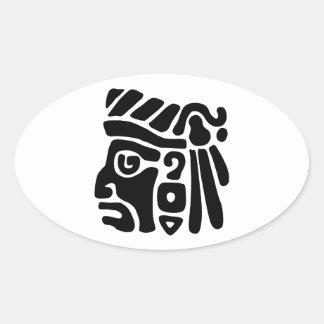 Guerrero azteca calcomanía óval personalizadas