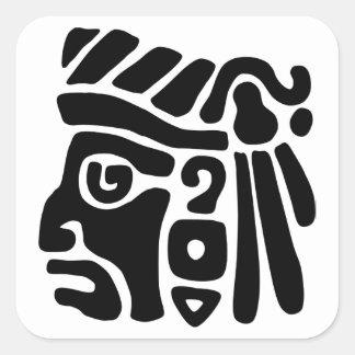 Guerrero azteca pegatina cuadrada