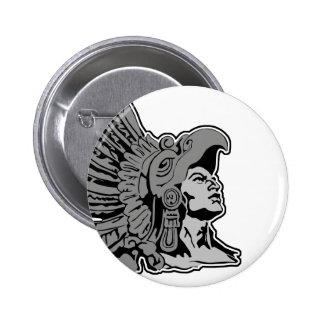 guerrero azteca pin redondo de 2 pulgadas