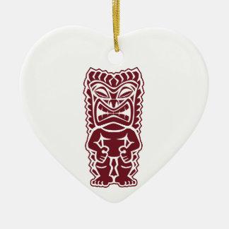 guerrero Borgoña del tótem del tiki Ornaments Para Arbol De Navidad