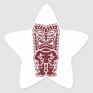 guerrero Borgoña del tótem del tiki Pegatina En Forma De Estrella