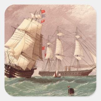 Guerrero británico del HMS del buque de guerra Pegatinas Cuadradas