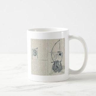 Guerrero con el arco dibujado, lanzamientos una fl tazas de café