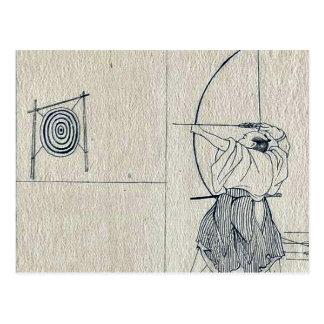 Guerrero con el arco dibujado, lanzamientos una postales