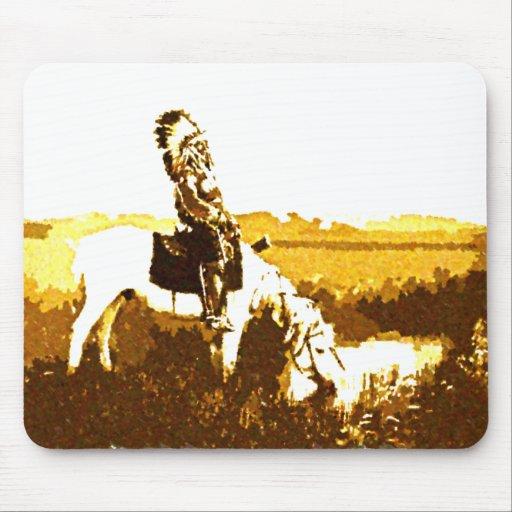 Guerrero de Cheyenne del vintage en el cojín de ra Alfombrilla De Ratón