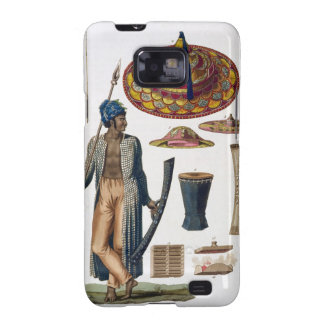 Guerrero de la isla de Guebe con los artículos del Samsung Galaxy S2 Carcasa