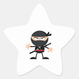 Guerrero de Ninja del dibujo animado Pegatina En Forma De Estrella