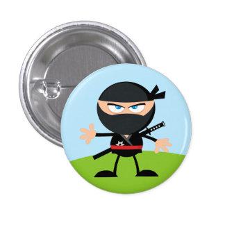 Guerrero de Ninja del dibujo animado Pin Redondo De 1 Pulgada