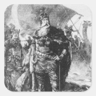 Guerrero de Viking Pegatina Cuadrada