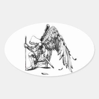 Guerrero del arcángel pegatina ovalada