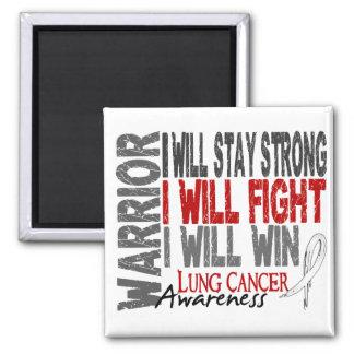Guerrero del cáncer de pulmón imán cuadrado