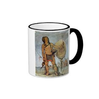 Guerrero del Comanche con un escudo una lanza y u Taza