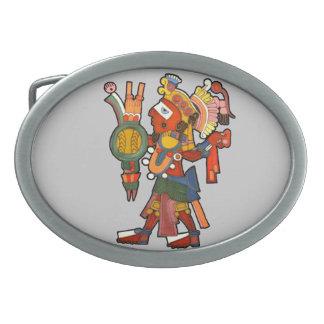 Guerrero del indio del maya hebilla de cinturón oval