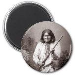 Guerrero del indio del nativo americano del imán redondo 5 cm