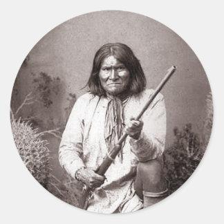 Guerrero del indio del vintage de Geronimo Pegatina Redonda