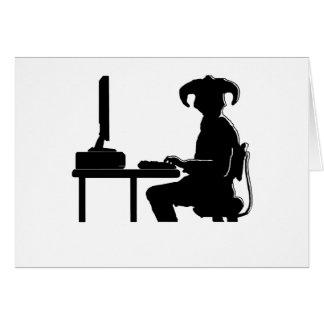 Guerrero del ordenador tarjeta de felicitación