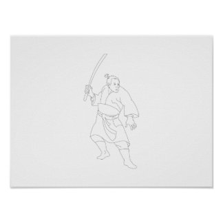 Guerrero del samurai con la espada de Katana Posters