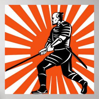 Guerrero del samurai con la espada del katana que impresiones